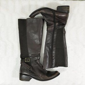 Brown Leather Boots Vintage Tall